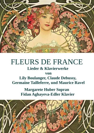 FLEURS DE FRANC Liederabend Margarete Huber & Fidan Aghayeva-Edler buntes Plakat