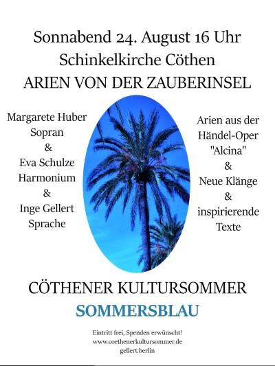 Das endgültige Plakat ARIEN VON DER ZAUBERINSEL Konzert 24.8. Cöthen 2019